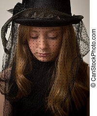 Ginger Teenage Girl In Victorian Riding Hat - Portrait of a...