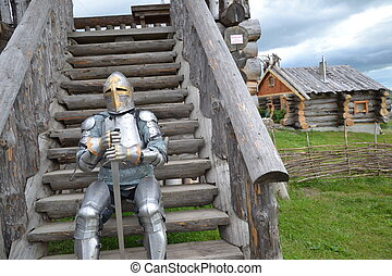 Knights armor, reconstruction of an medieval knight with a...