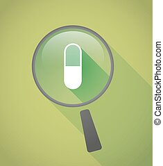 Magnifier icon with a pill - Illustration of a magnifier...