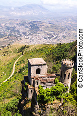 Erice castle - Aerial view of Erice castle on mountain with...
