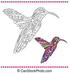 Connect the dots and coloring page - hummingbird