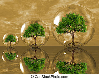 trees in bubbles - the green trees in bubbles