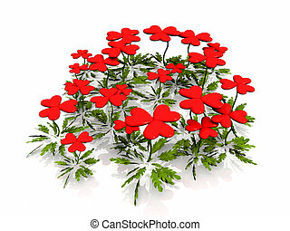 heart flowers on a white background