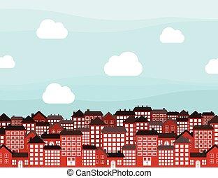 Many-storeyed city - City landscape. A vector illustration