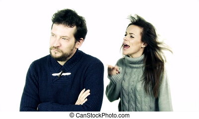 Woman yelling at boyfriend slow motion isolated