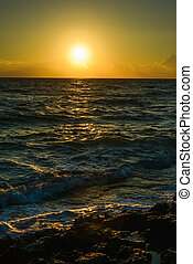 surf at dawn - splashing waves crashing on the rocky shore...
