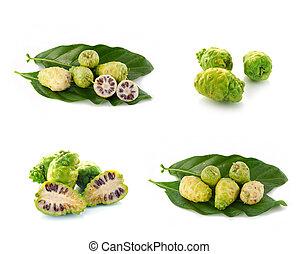 exoticas, fruta, -, Noni, ligado, branca,