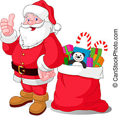Happy Santa - Santa Claus with bag of gifts