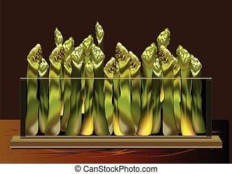 asparagus in a glass bowl - an illustration of a bunch of...