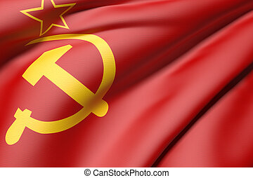 urss flag - 3d rendering of an old soviet flag