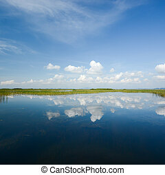 lake landscape with blue sky reflection in summer