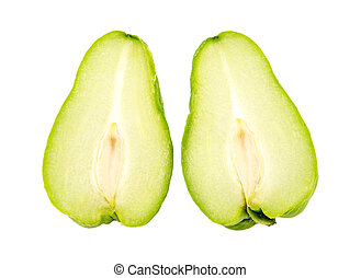 Pair of half choko Chayote green fruit