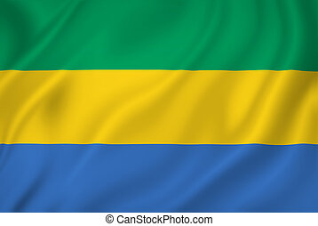 Gabon flag - Gabon national flag background texture.