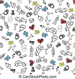 usual life sketch seamless pattern - a sketch illustration...