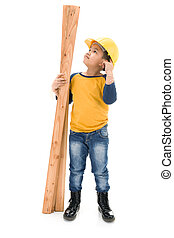 Young asian child construction Worker Holding equipment...