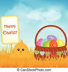 Easter chick and sign with basket