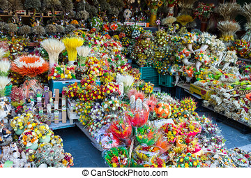 Colorful flower stall - Background of colorful flower...