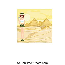 Nature Photographer taking pictures in Giza built for the pharao