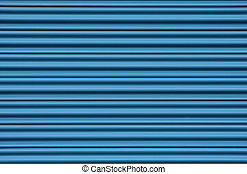 Corrugated metal door - Corrugated metal sheet door in blue