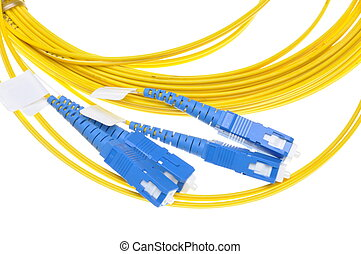Fiber optical patch cord plugs isolated on white background