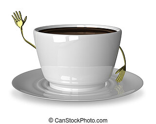 White cup character waving hand - Glossy white cup of coffee...