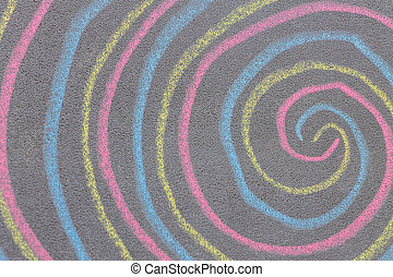 Chalk with spin cycle on chalkboard background - Colorful...