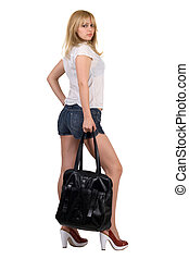 Sexy girl with a black handbag. Isolated
