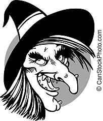 witch face line art - witch face isolated on a white...