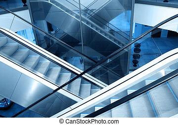 Escaleras mecánicas, en, empresa / negocio, centro,