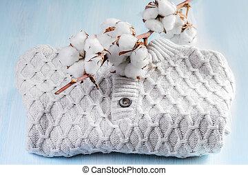 suéter, con, Un, puntilla, de, algodón,