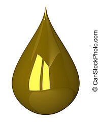 Golden drop isolated - Golden glossy reflective drop...