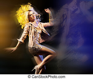 Art photo of partying lady