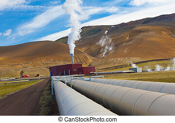 Geothermal plant - Large geothermal plant pumping heat from...
