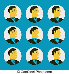 various facial expressions - Vector illustration of various...