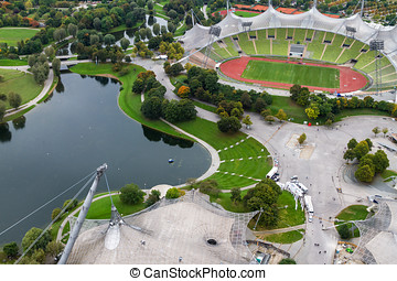 Olympiapark Munchen viewed from the Olympiaturm a 190 metre...