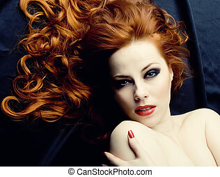 Redhead sensuality - Beauutiful young woman with red hair