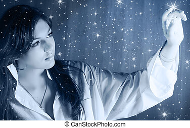 To light a stars - Beautiful young woman in moonlight