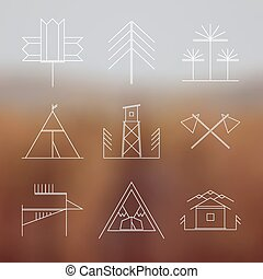 Set of retro camping icons