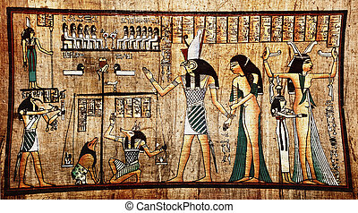 Egyptian papyrus - Ancient egyptian papyrus with pharaoh