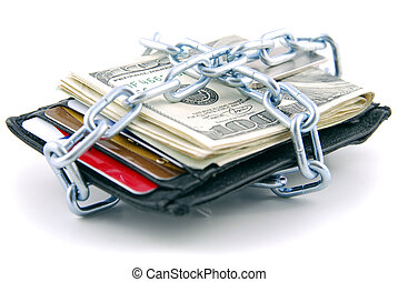 Chained shut - Wallet with American currency and credit...