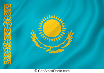 Kazakhstan flag - Kazakhstan national flag background...