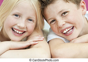 Happy Boy and Girl Children Brother and Sister Laughing -...