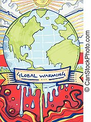 Global warming c - Hand drawn vector illustration or drawing...