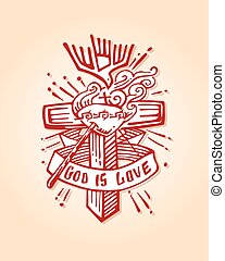 God is love b - Hand drawn vector illustration or drawing of...