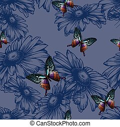 Seamless background with daisies and butterflies,...