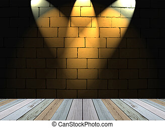 white brick wall background with light