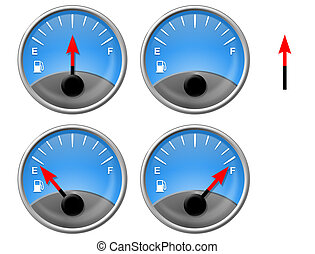 Gas Gauges on different levels, and one empty gauge and...