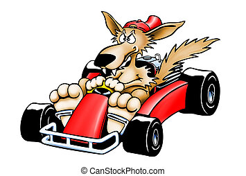 Gokart Wolf - Isolated - Bad cartoon wolf racing in a red...