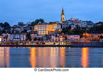 Belgrade - Panorama of Belgrade at night with river Sava