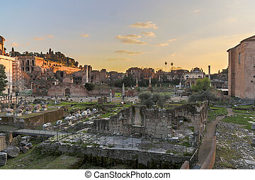 Forum Romanum at Dusk - The ancient ruins of the Forum...